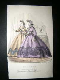 Englishwoman's Domestic Magazine 1864 Hand Col Fashion Print. April